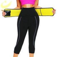 Lazawg Sauna Ter Pantolon Capris Yağ Kontrol Bel Trainer Kemer Ile Legging Sıcak Ter Pantolon Kilo Kaybı Sıcak Termo Vücut Şekillendirici 201223