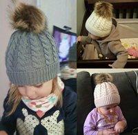 Comércio exterior Modelos masculinos e femininos, chapéu de torção pai-criança, imitação de lã bola de malhas de lã morna