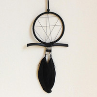 Black Geometry Dreamcatcher Feather Wind Chimes Pendant Drea...