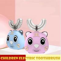 360 Graus Kid escova de dentes elétrica U Shaped USB automático de carregamento dente da Criança Carton bonito Boca Oral Limpeza Cuidados escova LJJP653