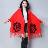 Мода пончо Женщины Жаккардовые Вязаные Красный / Серый Шерстяные Главные 2021 Теплые Густые Зимние Женские Накидки Роскошные Женские Осенние Пальто