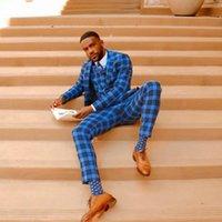 Blue Check Mens Suits 3 Pieces Groom Best Man Pants Suit Business Wedding Tailored Blazer Jacket (Jacket+Vest+Pants)