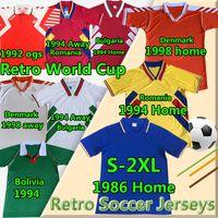 Milli Takım Vintage Klasik Retro Futbol Formaları Danimarka 1992 98 Bolivya Romanya Eve 304 Bulgaristan ITA 1986 LY Futbol Gömlek
