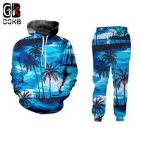OGKB 3D Leisure Seaside Seaside Homens 3D Imprimir Coco Tree Streetwear Plus Size Hoodies e Calças de Jogger Sets Habiliment 201118