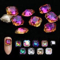 10 stücke Kristall AB Strass Nagel Edelsteine Flamme Quadrat Glas 3D Diamant Stein Dekoration Glitzer Maniküre Zubehör Werkzeuge