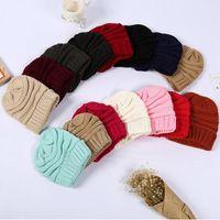 Malha Mulheres Simples macio estiramento Gorros Chapéu na moda Inverno Quente Chapéu de 20 estilos Lã Sólidos Beanie Caps Casual DDA696