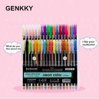 Gel Stylos Genkky Promotion Pen 48 Couleurs Ensemble Glitter pour les journaux de coloriages adultes Journaux Dessin Doodling Art Markers