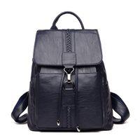 Retro Designer Women Genuine Leather Backpacks Female School Bags For Teenager Girls Travel Shoulder Bag Bagpack Q1113