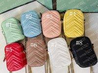 598G597 أجمل مصغرة أكياس الهاتف المحمول السيدات أزياء واحدة الكتف حقيبة البرونزية سلسلة الكلاسيكية الفاخرة 17CM