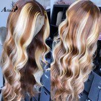 Pelucas de encaje Ombre Highlight 613 coloreado Wavy Human Hair Wig Pre plegado BleAk Knots Remy Frontal para mujeres negras HD transparente