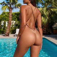Badeanzug einteiliger extreme weibliche Schnur Bodysuits Bikinis 2020 Mujer Dreieck Bademode Frauen High Cut Badeanzug Micro Bikini