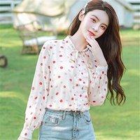 2021 Sonbahar Yeni Moda Kadın Üstleri Ve Bluz Uzun Kollu Polka Dot Ruffles Şifon Gömlek Casual Lady Yay O-Boyun Kıyafetleri Blusas
