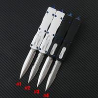 Microtech MT Ultratech Couteau automatique D2 lame en alliage d'aluminium avec poignée de survie Camping étui en nylon extérieur UTX85 UTX70 qualité Halo v Couteaux