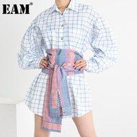 Женские блузки Рубашки [EAM] Женщины Blue плед сплит длинные большие размеры блузка ослабенна рукав свободная подходит рубашка мода прилив весна осень 2021 1x79