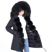 Маамаконг плюс размер зимнее пальто женское пальто Настоящий большой енот воротник воротник толстые дамы вниз и парку армии зеленая зима теплый JAC 201214