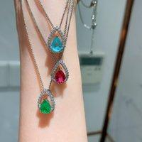 Paraiba Tourmaline Emerald Gemstone Halo GARE CEALLAINE LAB создан изумрудным / Paraiba Vintage Classic Cleance ожерелье для женщин ювелирных подарков