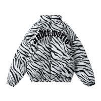 Benzersiz Erkek Kalın Sıcak ceketler Streetwear Hip Hop Kadınlar Casual Pamuk yastıklı Zebra Çizgili Fermuar Parka Mont Kış Harajuku OUTWEAR Tops
