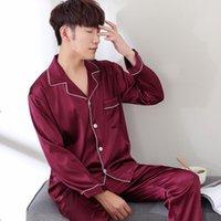 Aipeace pijama terno cetim seda pijama conjuntos casal sleepwear família pijama amante noite terno homens mulheres casual roupas casuais lj201113