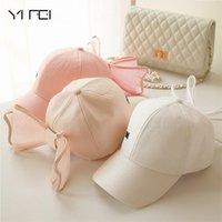Yeni Moda Kore Güzel Şapka Siyah Pembe Beyaz Renkler Pamuk Örgü Mark Yay Kadınlar Için Yay Kapaklar Kızlar Büyük Ilmek Beyzbol Şapkası H Sqcmvl