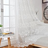 White Floral Embroidered Tulle Curtain For Living Room White...