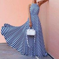 Donne Summer Beach lungo Maxi Dress Nuovo Vendita Calda Signore Senza Maniche Senza Maniche Striscia Sera Sera Party Sundress Slip Dress Vestito da festa1