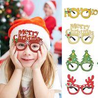 Çocuk Noel Partisi Dekorasyon Hediyesi için Noel Sevimli Karikatür Gözlük Çerçevesi Simli Noel Baba Kardan Adam Kar tanesi Ağacı Elk Gözlükler Hayır Mercek