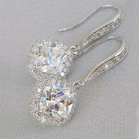 New Trendy Luxury Silver Color Square Drop Earring Accessori da sposa Bridal Shine Zircone Stone Elegante Gioielli Donne