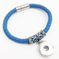 Pulseras de encanto tejiendo 18 mm de cuero genuino botón de joyería pulsera TY575 mujeres vintage