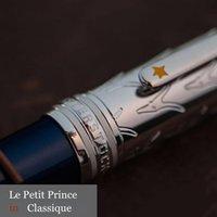 2020 Novo MST 163 Le Petit Prince Rollerball Ballerball Cap de prata de metal com caneta de barril de resina azul profunda para presente