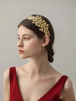 2021 diosa griega vid de pelo tiara nupcial corona de oliva barroca diadema de oro hoja de la rama de la rama de hadas Accesorios de joyería de boda Al8337
