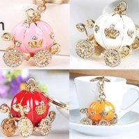 Pumpkin Carriage Crystal For Hallowmas Gift Fairy Tale Keychain Purse Bag Buckle HandBag Pendant For Car Keyring Holder