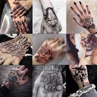 10 pièces / lot d'autocollants de tatouage temporaire imperméables à la main fleur rose Faux fond de tatouage flash et arrière-plan ardent corps femme femme