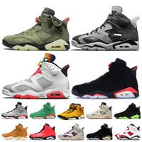 Nike Air Jordan 6 6s Retro Travis Scott 6 Jumpman zapatos de baloncesto del Mens Hare Tech cromo Negro infrarrojos para hombre de las zapatillas de deporte Formadores