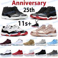 Yüksek 11 11s Basketbol Ayakkabı Erkek Spor Eğitmenleri 25th Yıldönümü Concord 45 Bred Uzay Reçeli Pantone Düşük Legend Mavi Kadın Sneakers