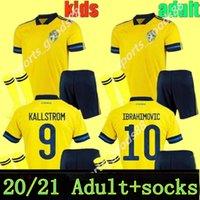Hommes Enfants 20 21 Suède Soccer Jerseys Kits 2020 Sverige Accueil Forsberg Maillot de Foot Lindelof Guidretti adulte Boys Football Chemise Uniformes