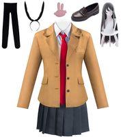 Anime Rascal träumt nicht von Bunny Girl Senpai Sakurajima Mai Azisagawa Cosplay JK Schuluniform Perücke Schuhe Kostüm