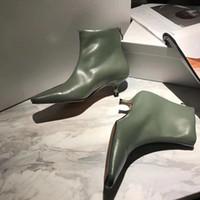 أحذية جلدية قصيرة 2020 المألوف مثير القط كعب إمرأة حذاء واحد مربع رئيس الجانب سستة متوسطة كعب مارتن الأحذية مع صندوق و dustbag