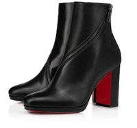Знаменитый дизайн красные нижние лодыжки ботинки круглые носки высокими каблуками zip chunky каблуки сексуальные женщины booty дамы bothes красные ownole booties eu35-43