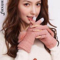 خمسة أصابع قفازات متعددة الوظائف شاشة اللمس المرأة الدافئة قفاز طبقة مزدوجة انفصال أصابع الإناث بوم بومس قفاز الكشمير