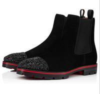 Zarif Kış Marka Tasarımcı Erkek Bilek Boots Kırmızı Alt Kavun Strass Dikenler Çizme Dana derisi Kauçuk Lug Topuk Adam Ganimet Ünlü Partisi Düğüne