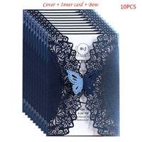 Tarjetas de felicitación 10pcs / set Glitter Cut Lace Invitación de boda con arco de mariposa para la ducha nupcial compromiso Fiesta de cumpleaños