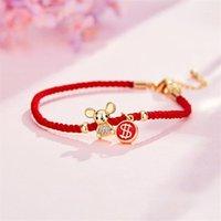 Bracelet de corde rouge rats de zodiaque bracelets pour femmes anniversaire chanceux souhait bijoux bijoux bracelet fille nouvel an ornements de noël cadeau de Noël1