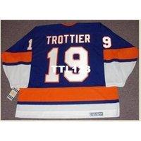 """888 # 19 Bryan Trottier New York Adaları """"Rookie"""" 1975 CCM Vintage Home Hockey Jersey veya Özel Herhangi bir isim veya numara Retro Jersey"""