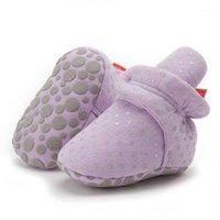 Güz ve Kış Yumuşak Sabit Bebek Güzel Kanca Döngü Polka Dot Ayakkabı Yürüyüş Ayakkabıları Yenidoğan Bebek Çorap Çizmeler 0-6M Hot1