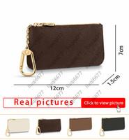 أزياء مفتاح الحقيبة pochette cles إمرأة رجل براون زهرة مفتاح الحقيبة مفتاح سلسلة محفظة بطاقة الائتمان حامل عملة محفظة مصغرة حقيبة محفظة مع مربع