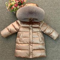 Crianças menina menino inverno real pele engrossou jaquetas 90 para baixo casaco longo casaco casaco 2-12Y bebê crianças roupas -30 outwear 201203