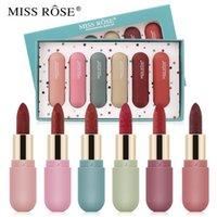 Lipstick Miss Rose 6 Couleurs / Ensemble Matte Hydratant Hydratant Hydratant Cosmétiques de maquillage de lèvres nacré-lustre