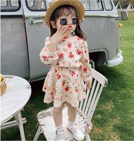 أطفال الفراولة المطبوعة مجموعات 2021 الربيع الأطفال طويلة الأكمام البلوز + تنورة 2 قطع عيد الحب الفتيات عارضة ملابس A5600