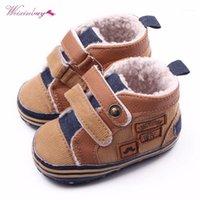 Weixinbuy мода противоскользящая детская зимняя обувь новорожденных мальчиков теплый первый Walker1
