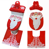 Sankt-Weihnachtstoilettensitzabdeckung 3 Stück Set Fall Bequeme Overcoat Zuhause-Party-Dekoration Klassische Innen Badezimmer Mats Produkte